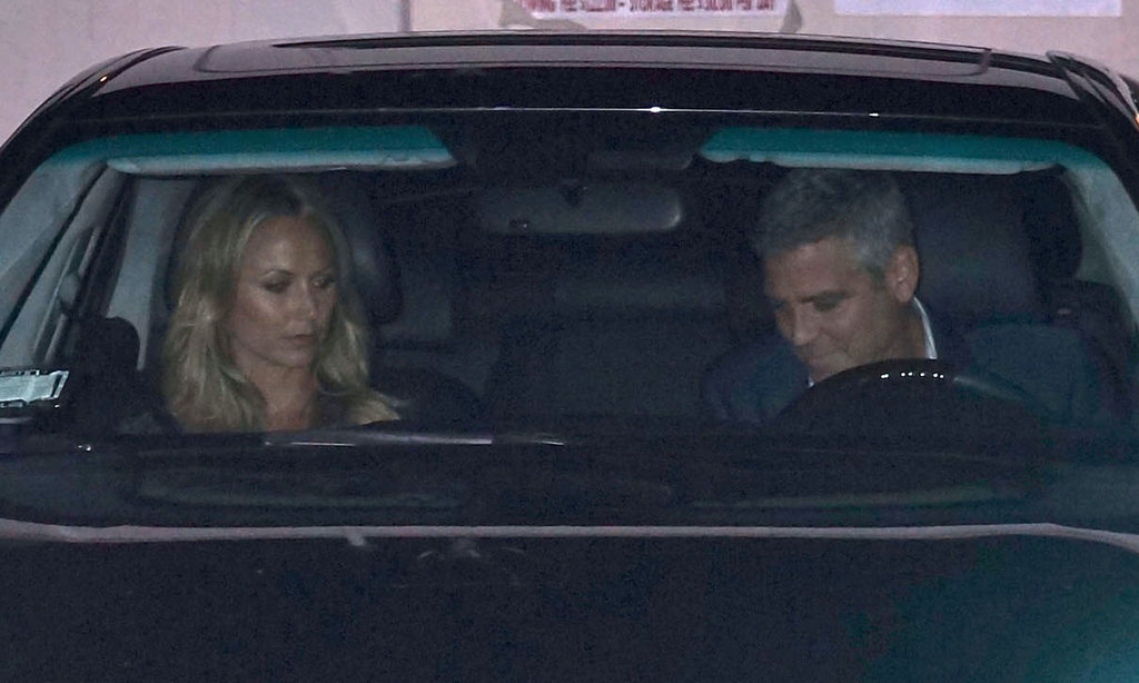 George Clooney and Stacy Keibler drove home after a dinner date with Cindy Crawford and Rande Gerber in LA.