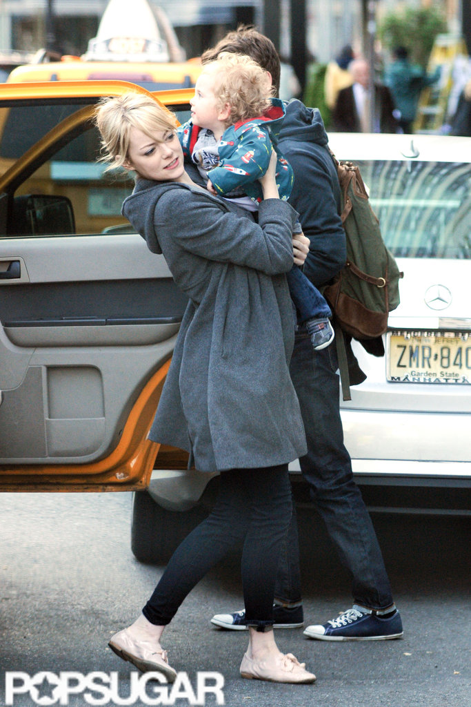 Emma Stone unloaded a friend's son out of a taxi in NYC.