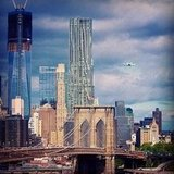 Space shuttle Enterprise over New York City.  Source: Instagram User chrispetescia