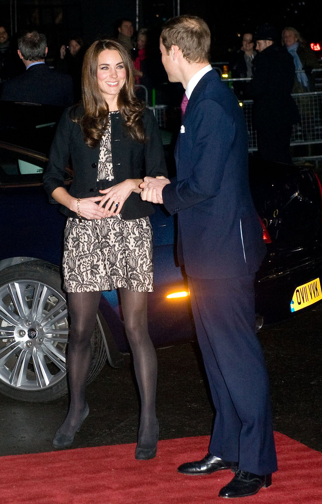 For an evening affair in December 2011, Kate donned a lacy black Zara dress and a black Ralph Lauren jacket, while Prince William opted for a navy blue suit, at Royal Albert Hall in London.