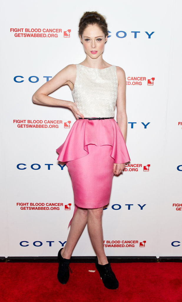 Coco Rocha looked chic in Jason Wu's pink peplum-adorned frock.