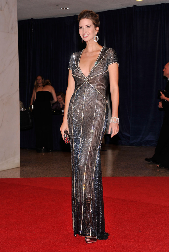 Ivanka Trump wore a silver gown on the red carpet.