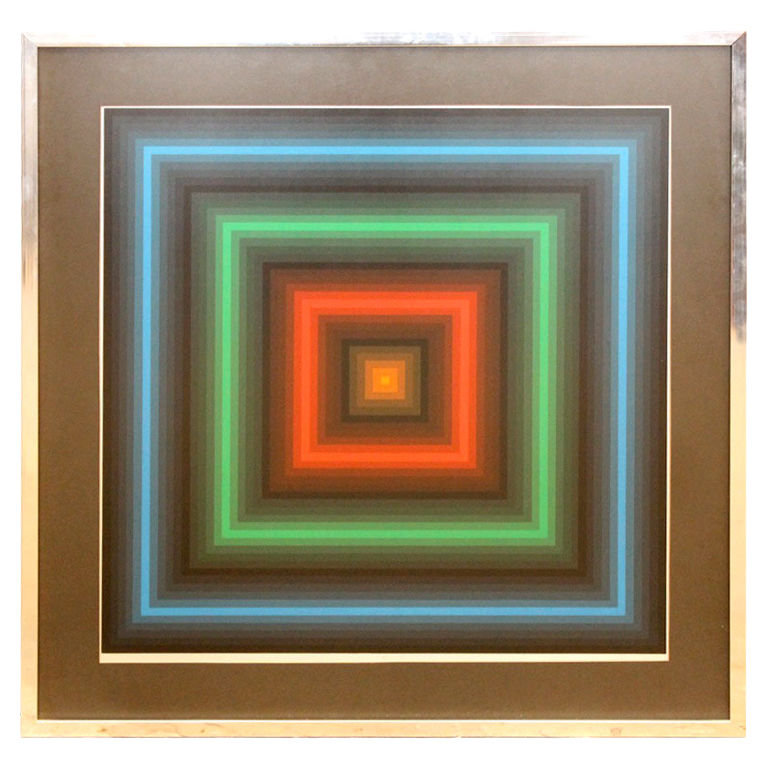 "This Geometric Op Art Screenprint ($825)  by Jurgen Peters is from the '70s and titled ""Nite Lites."""
