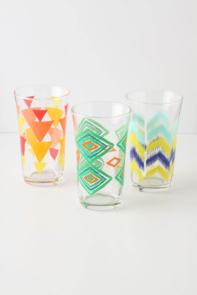 These Treadng Water Glasses ($12 each) feature a variety of geometric patterns.