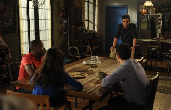 Max Greenfield as Schmidt, Lamorne Morris as Winston, Zooey Deschanel as Jess, and Jake Johnson as Nick on New Girl. Photo courtesy of Fox
