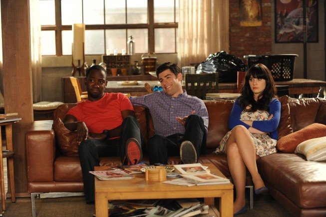 Max Greenfield as Schmidt, Lamorne Morris as Winston, and Zooey Deschanel as Jess on New Girl. Photo courtesy of Fox
