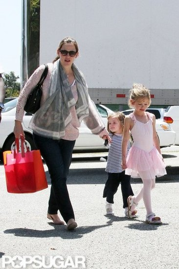 Jennifer Garner held Seraphina Affleck's hand while Violet Affleck walked ahead to the car in LA.