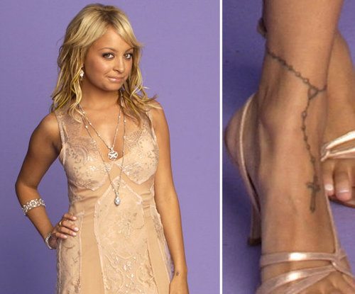 One of Nicole Richie's first tattoos was an anklet design, with a cross.