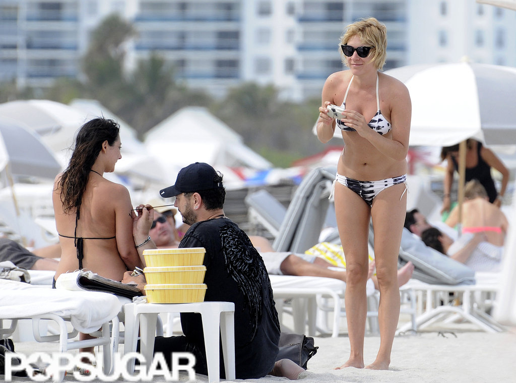 Chloë Sevigny hung out on the beach in Miami with friends.