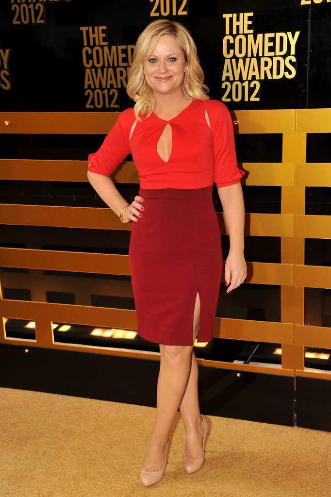 Amy Poehler wore a Black Halo dress to the Comedy Awards in NYC.
