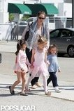 Jennifer Garner kept an eye on the girls leaving ballet class in LA.