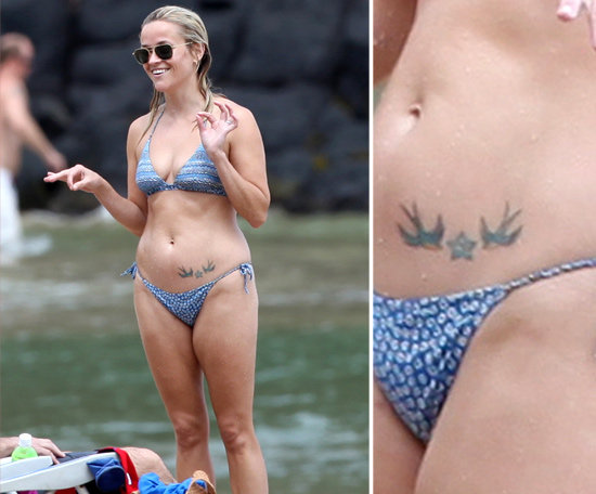 Reese Witherspoon showed off her hip tattoo, a star with blue swallows on either side, during a Hawaiian vacation in 2011.