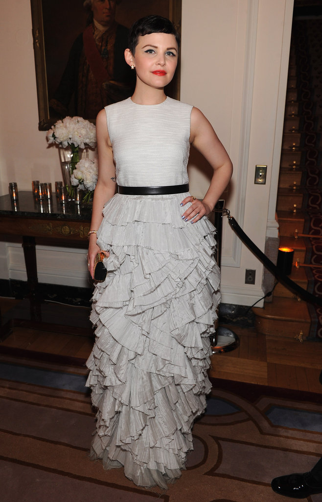 Ginnifer Goodwin wore a white dress with a thin black belt to the White House Correspondant's Dinner.