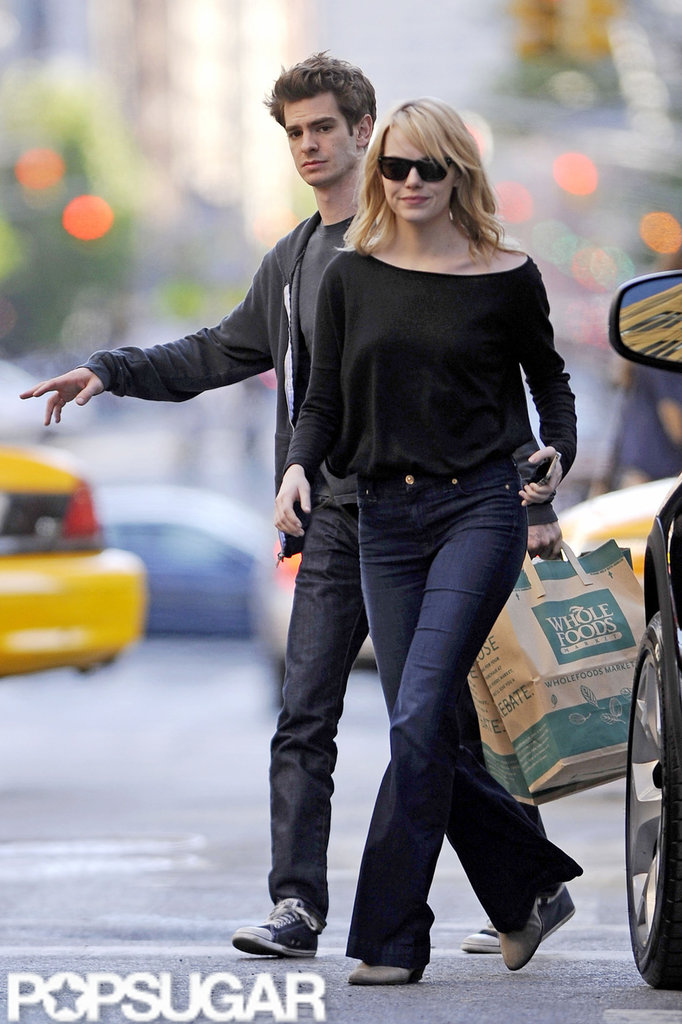 Emma Stone and Andrew Garfield hailed a taxi after grocery shopping at Whole Foods.