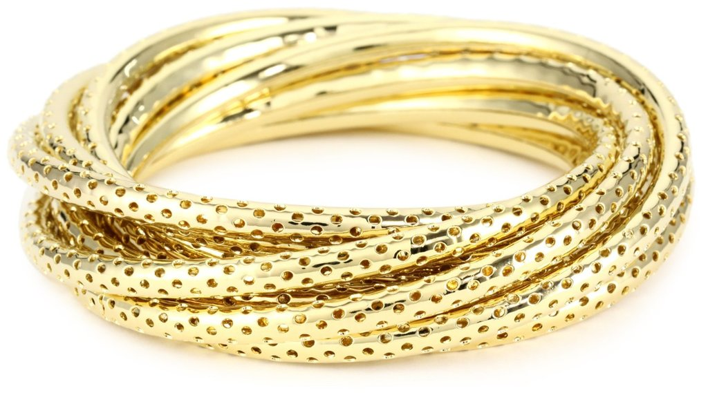 For just a bit of perforation, go with these pretty gold bangles.  Jules Smith Perforated Gold Bangles ($110)