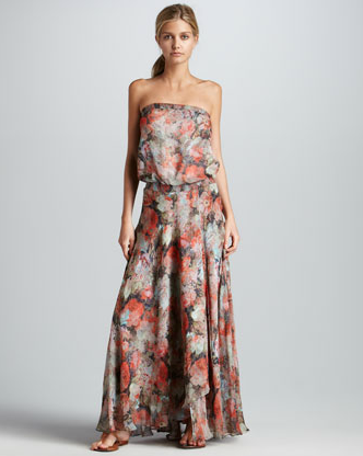 """In the way of effortless seasonal dresses, this one might be queen. I love the slouchy shape and that I could wear it just as well with heels to a wedding as I could on a lazy Sunday with flat sandals."" — Hannah Weil, assistant editor   Haute Hippie Strapless Floral-Print Maxi Dress ($595)"