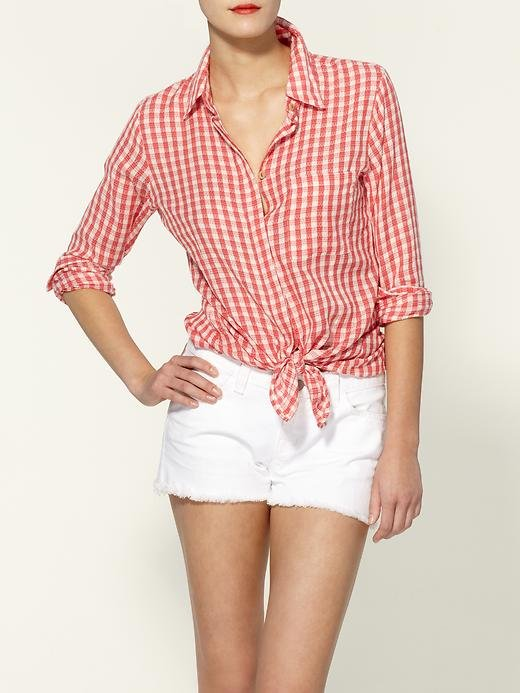 """One-part picnic chic, one-part country prep: I love that gingham is back with a vengeance. This tie-front version is laid-back and will totally fit in with my weekend wardrobe."" — Marisa Tom, associate editor  Sanctuary Neat Gingham Shirt ($87)"