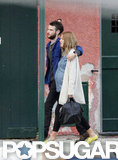 Sienna Miller and Tom Sturridge stayed close while strolling around Italy.