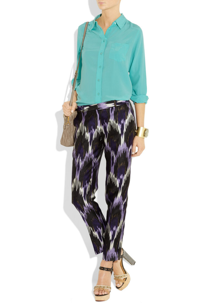 Michael Michael Kors Ikat-Print Silk-Blend Straight-Leg Pants ($175)