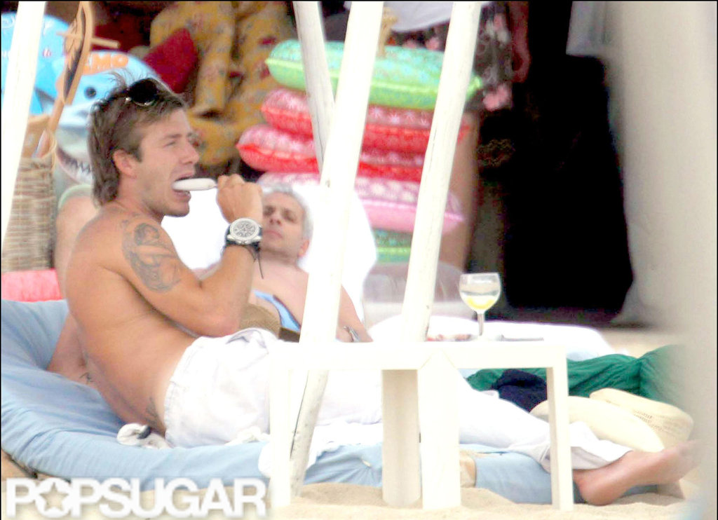 David Beckham lounged in St. Tropez during June 2005.