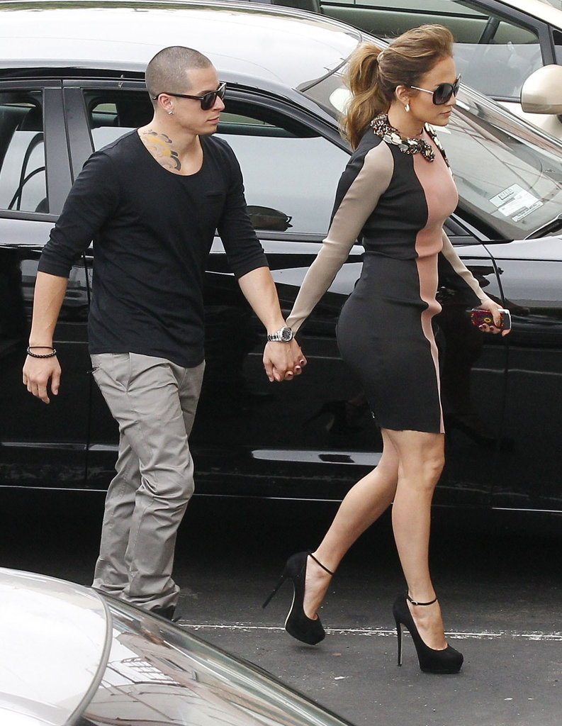 Casper Smart and Jennifer Lopez held hands on the way to a press conference in LA.