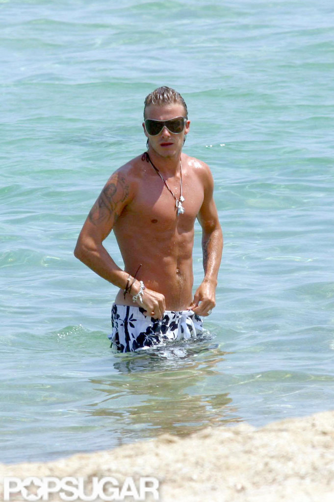 David Beckham wore surf shorts for a 2007 beach day in St. Tropez.