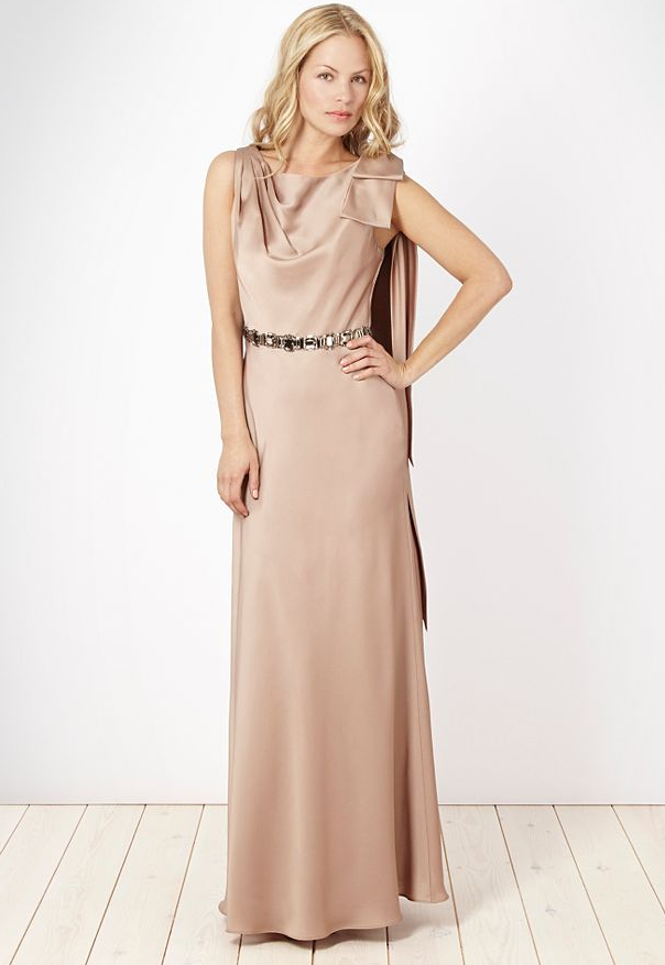 No. 1 by Jenny Packham Gold Satin Diamante Waisted Maxi Dress ($219)