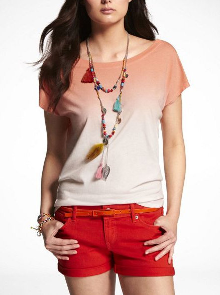 An ombre style steps up the impact of this simple slouchy tee.  Express Dip Dye Dolman Tee ($30)