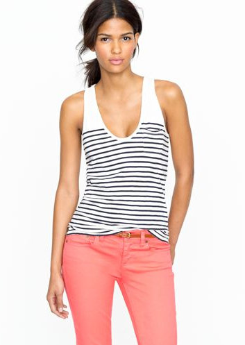 Airy, vintage slub cotton gets a preppy makeover with thin navy stripes.  J. Crew Vintage Cotton Pocket Tank ($)