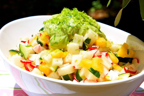 Jicama and Radish Salad With Avocado Yogurt Dressing