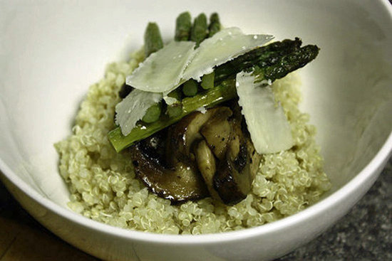 Roasted Asparagus and Mushroom Quinoa