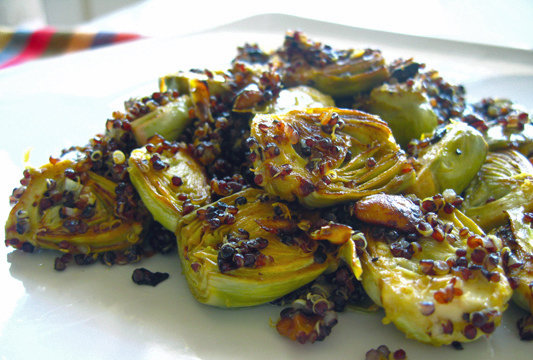 Pan-Roasted Artichokes With Pistachios and Black Quinoa