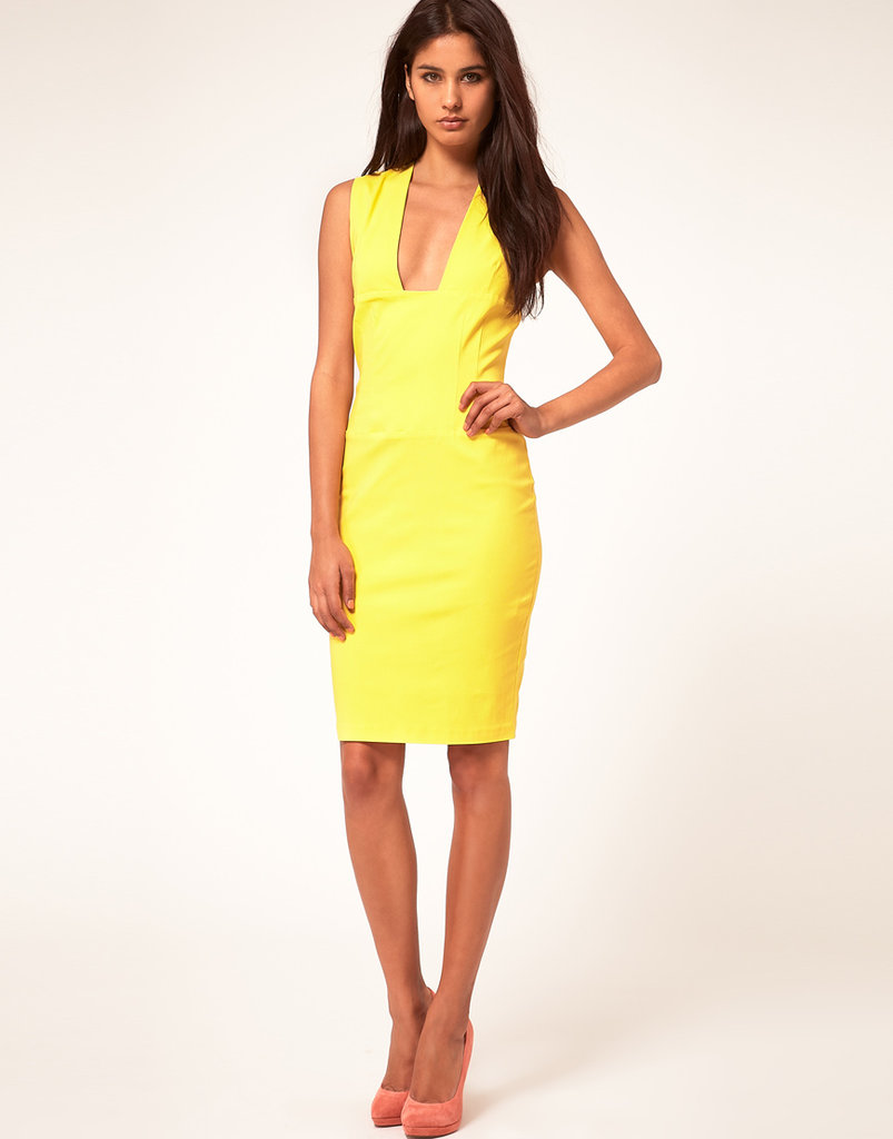 Hybrid Pencil Dress With Plunging Neckline ($155)