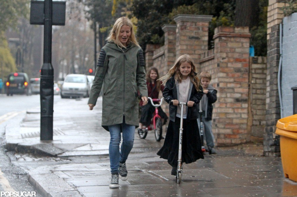 Gwyneth Paltrow was out and about in London with kids Apple Martin and Moses Martin.