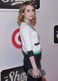 Emma Roberts wore a sweater with blue and green accents to The Shops at Target launch party in NYC.