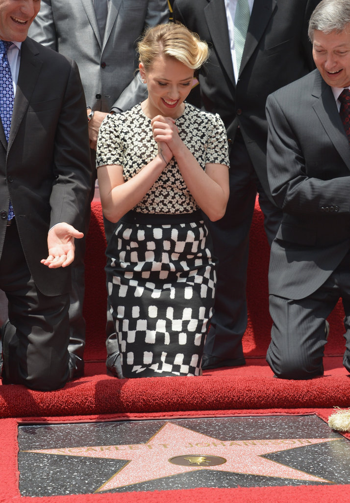 Scarlett Johansson was full of joy at today's Walk of Fame ceremony.