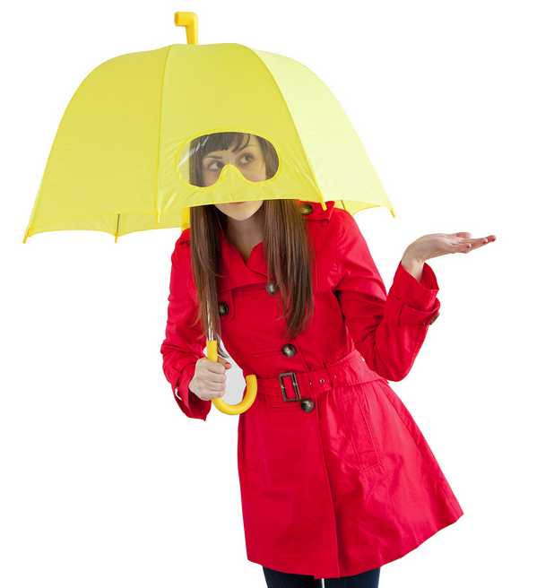Stay protected from the gusty wind and rain while avoiding pedestrian collisions with the Goggles Umbrella ($25). The trick is the hilarious plastic goggles window for better vision.