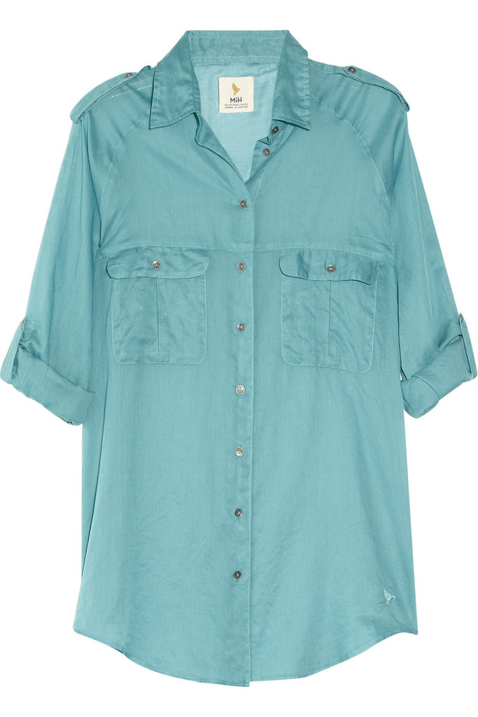 Rock this teal top buttoned up with trousers, or leave it open over a slouchy gray tee and jeans.  MiH Jeans Safari Cotton-Voile Top ($195)