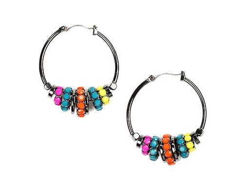 Nine West Multicolor Bead Hoop Earrings ($28)