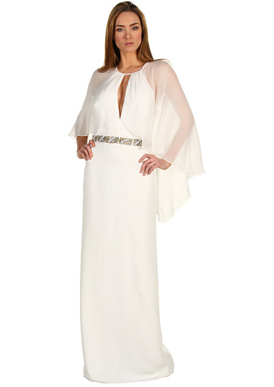 Badgley Mischka Cape-Sleeve Gown ($755)
