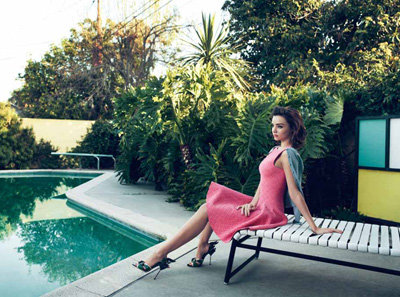 Miranda Kerr lounged poolside in a spread for Numéro Tokyo magazine.
