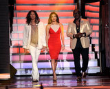 Jennifer Lopez, Randy Jackson, and Steven Tyler walked out on stage together.