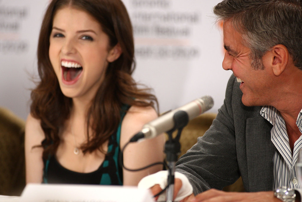 George Clooney shared a laugh with Anna Kendrick at a September 2009 press conference for Up in the Air in Toronto.