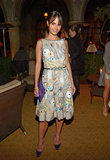 Jordana Brewster was the picture of femininity in a pleated and printed femme frock.
