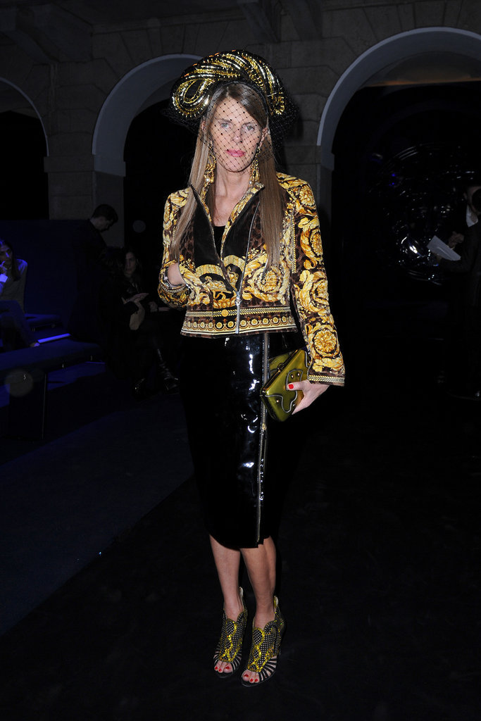 Anna Dello Russo in Versace during Milan Fashion Week.