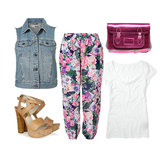 "Whether you're at work or dressing for Sunday brunch with the girls, a denim vest can look cool and modern when paired with printed trousers and a plain white tee. Get the look:  Topshop Sleeveless Denim Jacket ($76) Zimmermann Multicolored Floral Dreamer Track Pants ($210) Cambridge Satchel Company 14"" Pink Metallic Satchel ($218) Club Monaco Kara Crewneck Tee ($30) MICHAEL Michael Kors Nadina Platform Sandals ($150)"