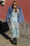 Playing up her girlier sensibility, Anna Dello Russo wore a see-through floral appliqué dress topped with a periwinkle shag coat to the Missoni show during Fashion Week.
