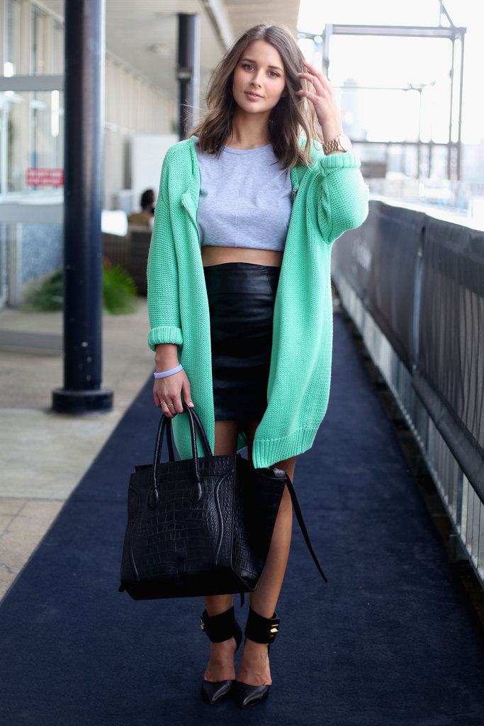 For cool-girl inspiration, this crop top, leather pencil skirt, and oversize mint-hued cardigan look had just the right amount of edgy appeal and Spring lightness.