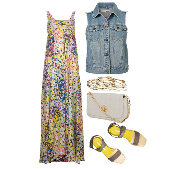 This breezy maxi dress would look great with a denim vest on top — just add a crossbody bag, flat sandals, and a stack of bangles for a sweet daytime look. Get the look:  Topshop Sleeveless Denim Jacket ($76) Banana Republic Leaf Bangle Set ($40) Forever 21 Quilted Flap Crossbody ($23) Jil Sander Contrast Leather Sandals ($595) Bec & Bridge Floral Maxi Dress ($454)