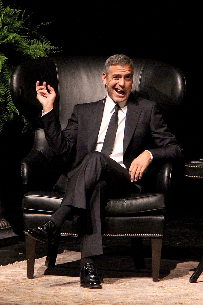 George Clooney made a funny face during an interview in Texas.
